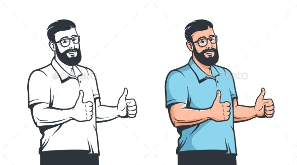 Positive Man with Glasses Beard and Thumb Up - People Characters