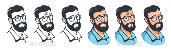 Man with Beard and Glasses - Retro Style - People Characters