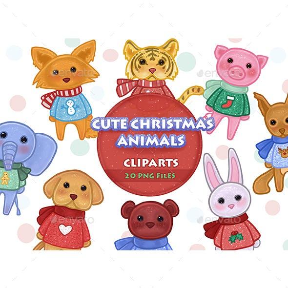Cute Christmas Animals Clipart
