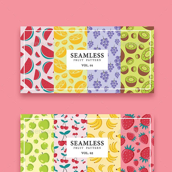 Seamless Fruit Pattern Set