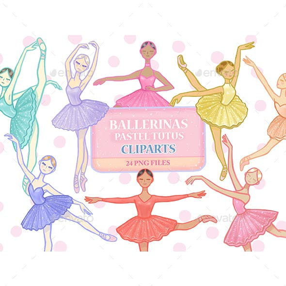 Ballerinas Pastel Tutus Clipart