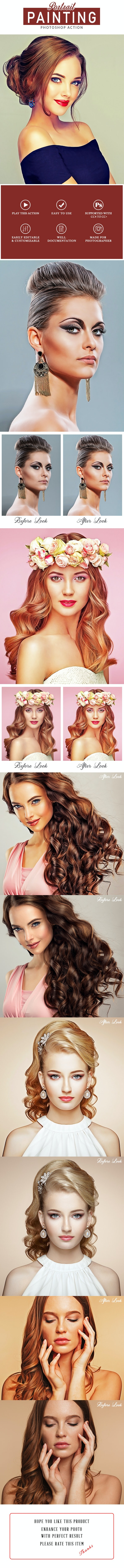 Portrait Painting Photoshop Action - Photo Effects Actions