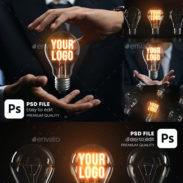 Glowing Bulb Logo Mockup Pack