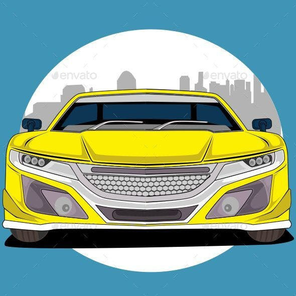 Yellow Sport Car High Speed