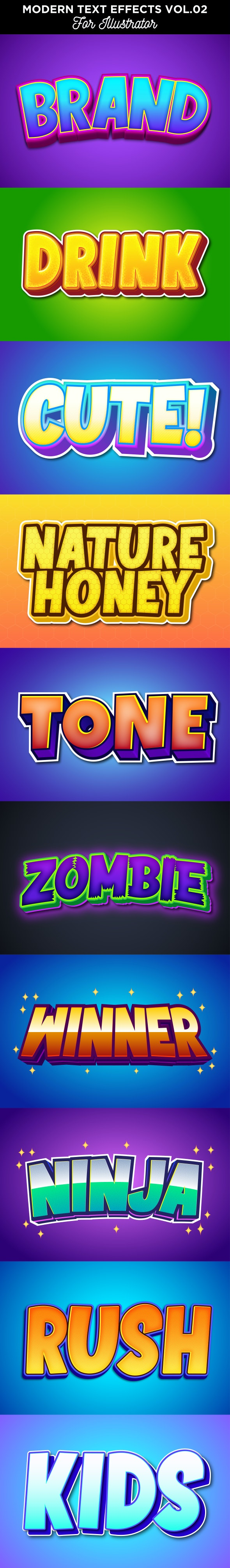 Cartoon Text Effect for Illustrator - Text Effects Actions