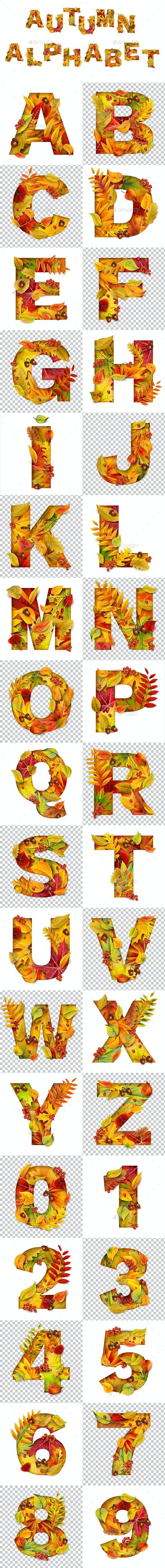 Autumn Alphabet - Decorative Symbols Decorative