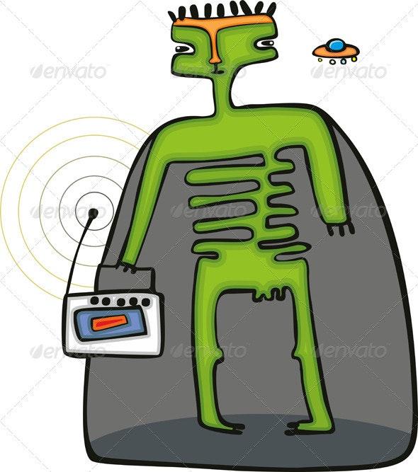 Green Space Alien - Characters Vectors
