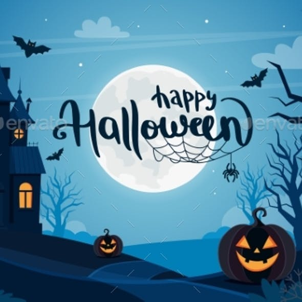 Halloween Background with Haunted House Full Moon