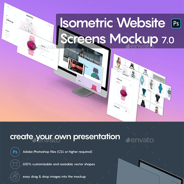 Isometric Website Mockup 7.0