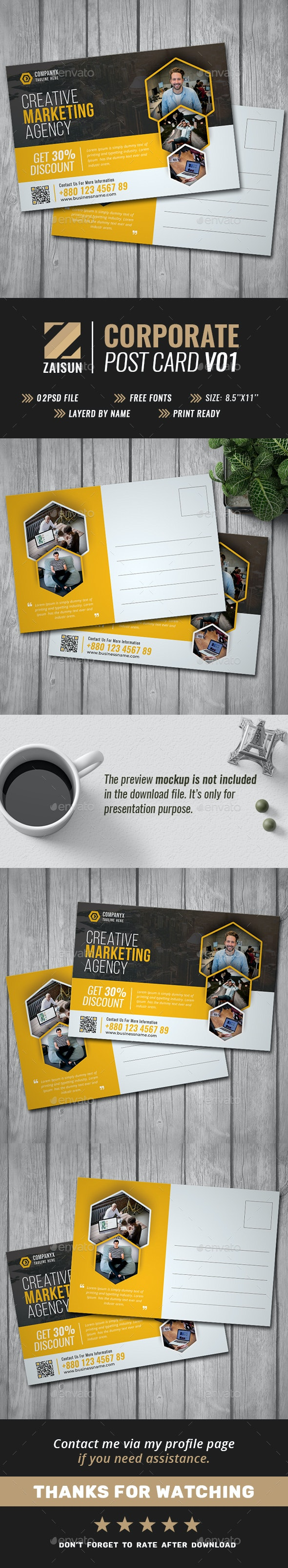 Business Post Card V01 - Cards & Invites Print Templates