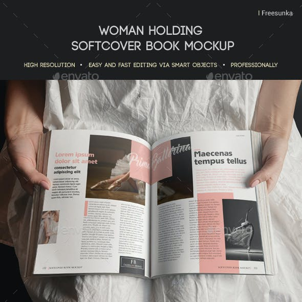 Woman Holding Softcover Book Mockup