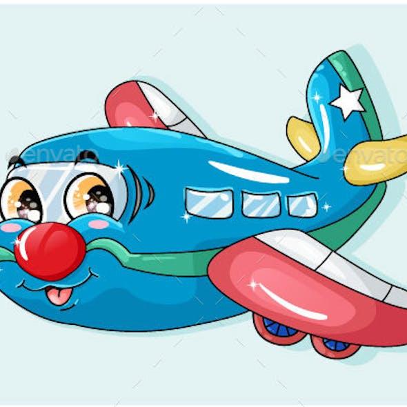 Cartoon Funny Blue Red Plane Orange