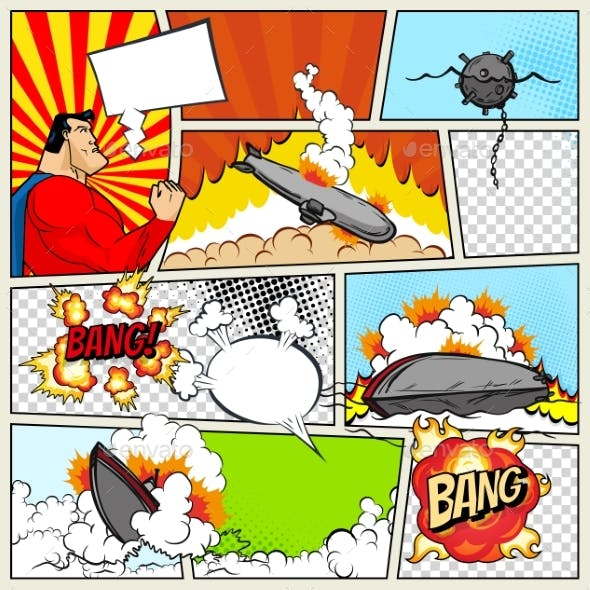 Template Comic Book Page with Warships Pop Art