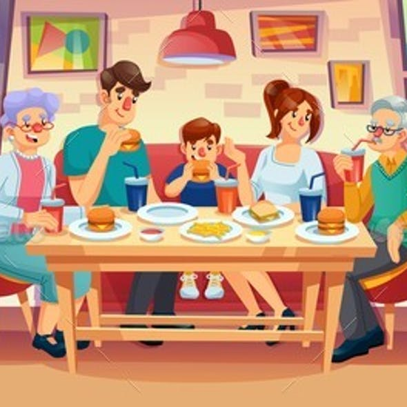 Happy Family Having Dinner at Fast Food Restaurant