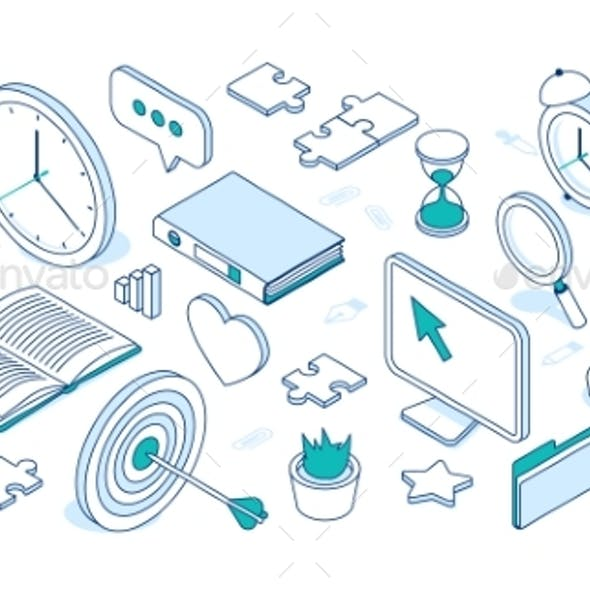 Vector Set of Business Isometric Icons