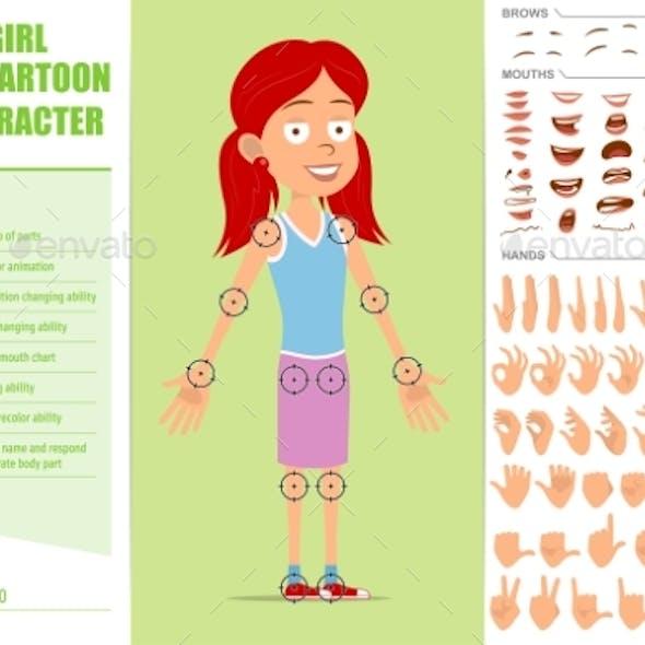 Cartoon Flat Kid Character Vector Set