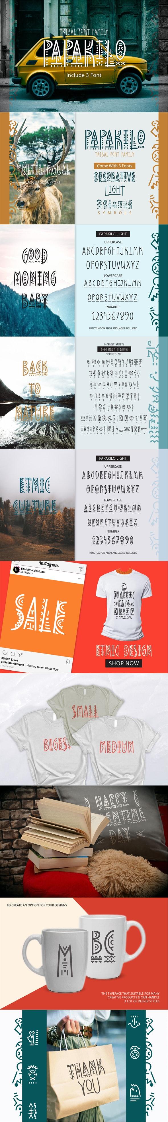 PapaKilo - Tribal Font Family - Decorative Fonts