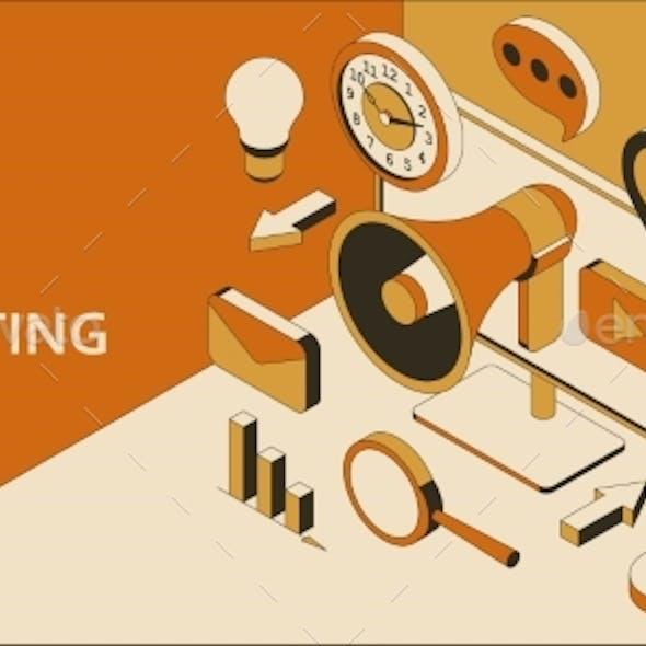Digital Marketing Isometric Background