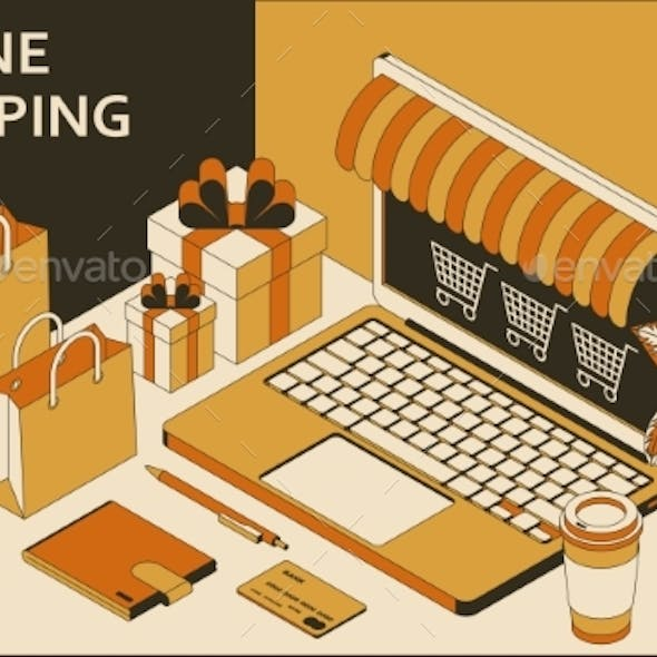 Online Shopping Isometric Concept with Open Laptop