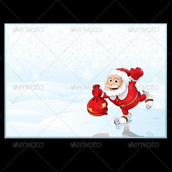 Santa Claus with Full Sack of Gifts - Christmas Seasons/Holidays