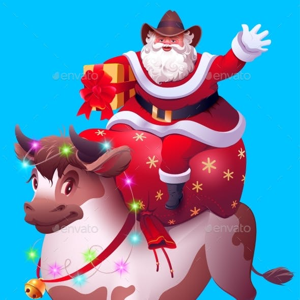Santa Claus with Bag of Gifts Rides Bull