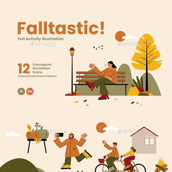 Falltastic Landing Page Graphic Illustration
