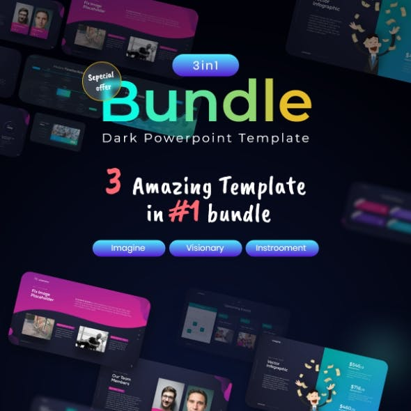Dark Theme Bundle 3 in 1 PowerPoint Presentation Template Template Fully Animated