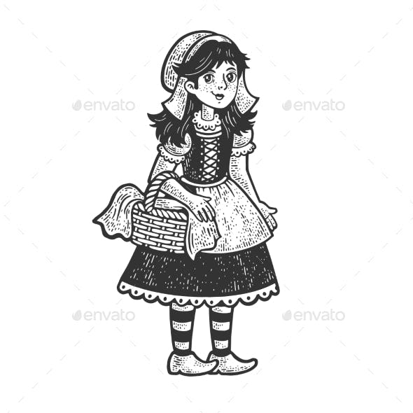 Little Red Riding Hood Sketch Vector