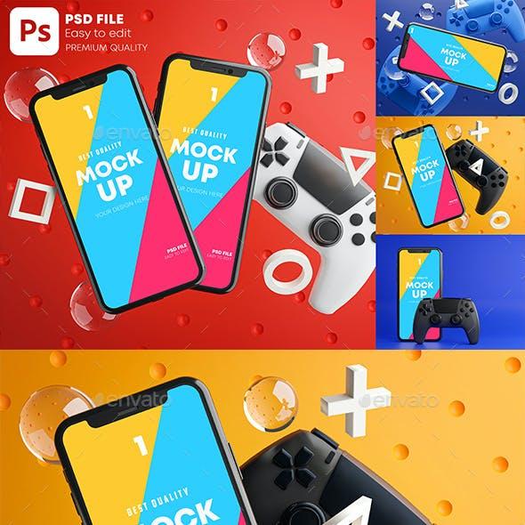 Smartphone Mobile Gaming Mockup Gamepad Pack