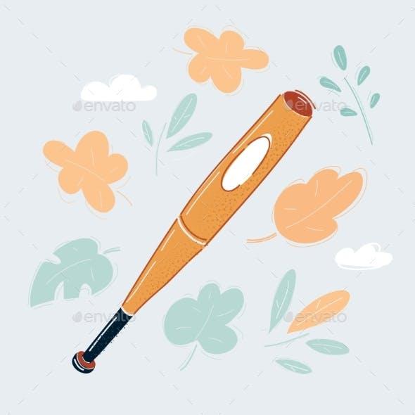 Cartoon Vector Illustration of Baseball Bat