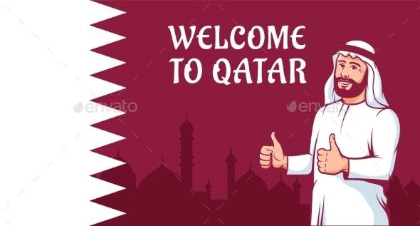 Positive Arab Man Thumbs Up on Qatar Flag - People Characters