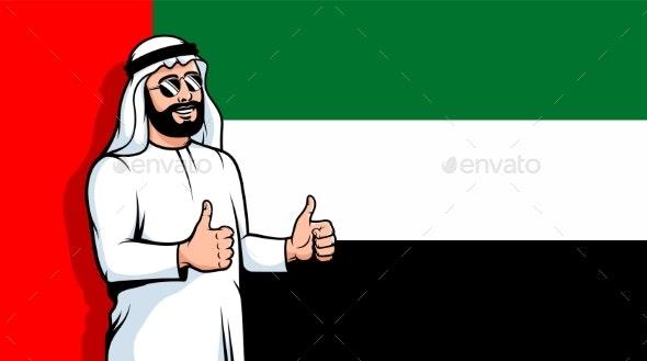 Arabic Man Thumbs Up on United Arab Emirates Flag - People Characters