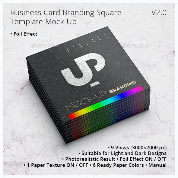 Business Card Branding with Foil effect Square Template Mock-Up V2.0