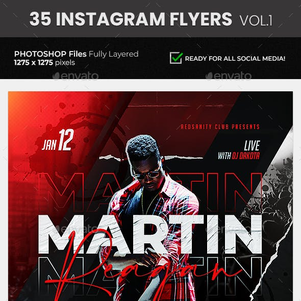 35 DJ & Club Party Instagram Flyer Bundle Vol.1