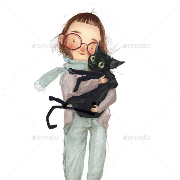 Cute Cartoon Girl with Black Cat