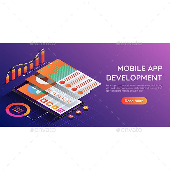 Isometric Web Banner Smartphone with Mobile Application User Interface and Navigation Layer Screen