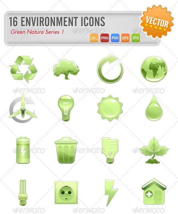 16 Environment icons - Nature Conceptual