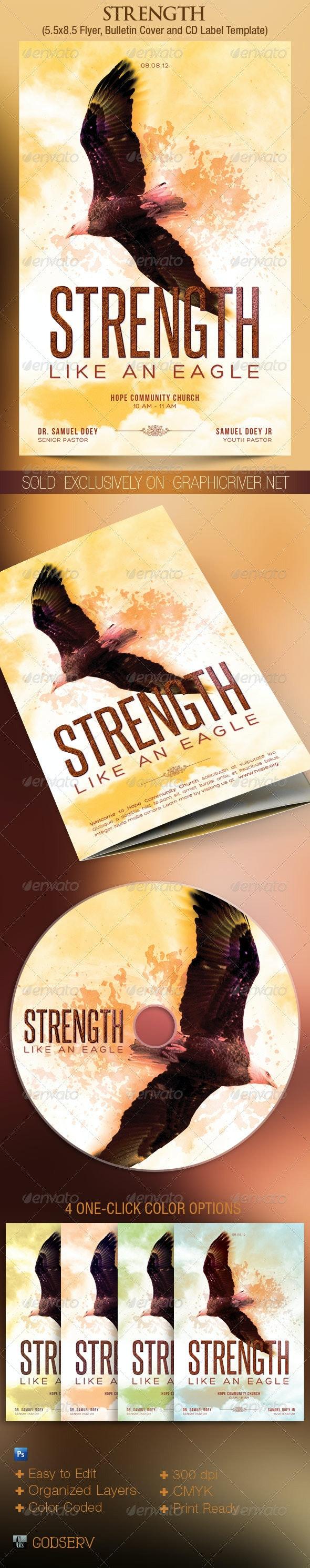 Eagle Strength Flyer Bulletin CD Template - Church Flyers