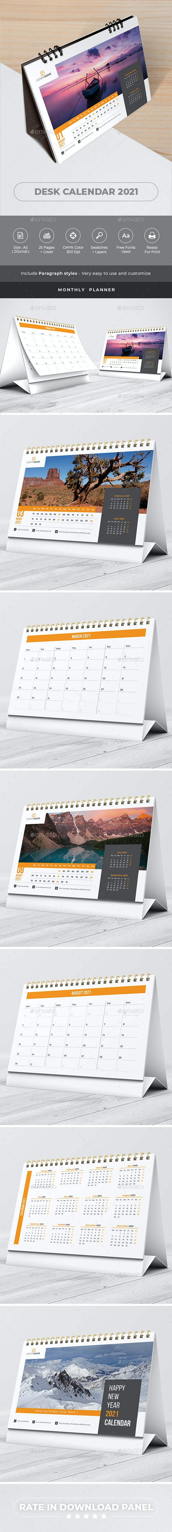 Desk Calendar 2021 Planner - Calendars Stationery