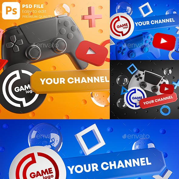 Gaming Youtube Channel Logo Promotion Mockup Pack