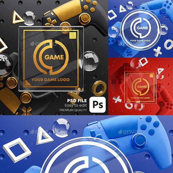 Gaming Glass Logo Mockup Gamepad Pack