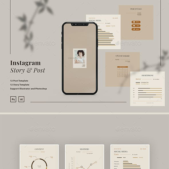 Instagram Chart and Graph Infographic Template