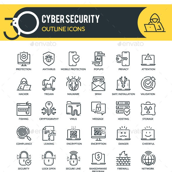 Cyber Security Outline Icons