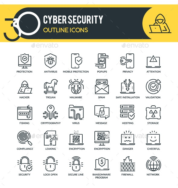 Cyber Security Outline Icons - Technology Icons