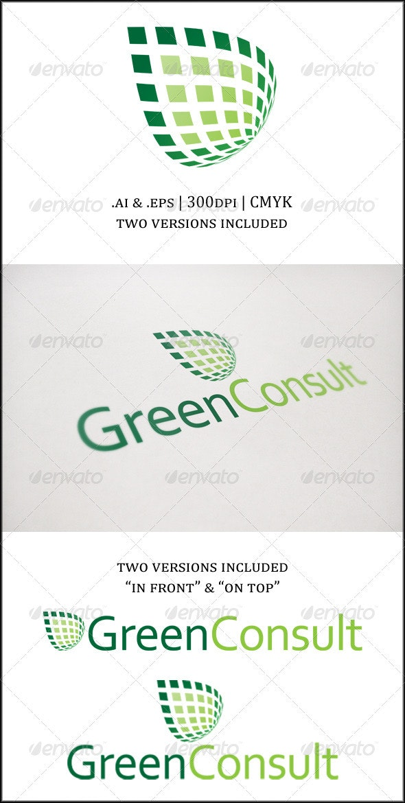 3D Abstract Green Leaf Logo - Vector Abstract