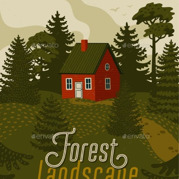 Forest Landscape with Red Cabin