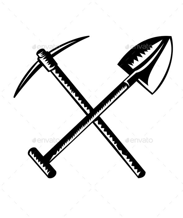 Crossed Spade or Shovel and Mining Pick Ax - Man-made Objects Objects