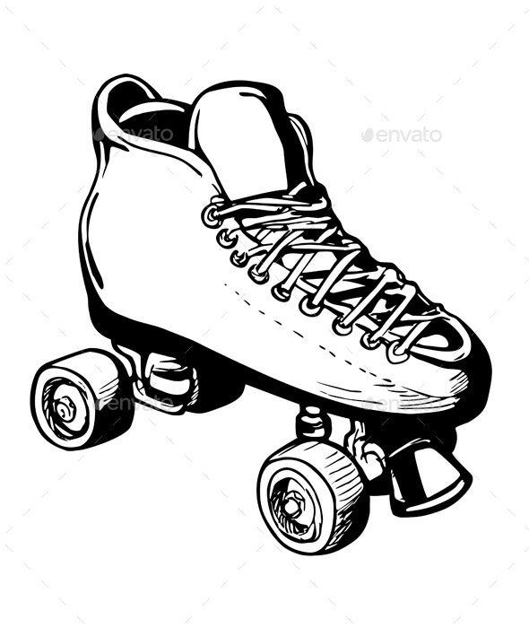 Vintage Woman or Ladies Roller Derby Skates Retro Stencil Black and White - Man-made Objects Objects
