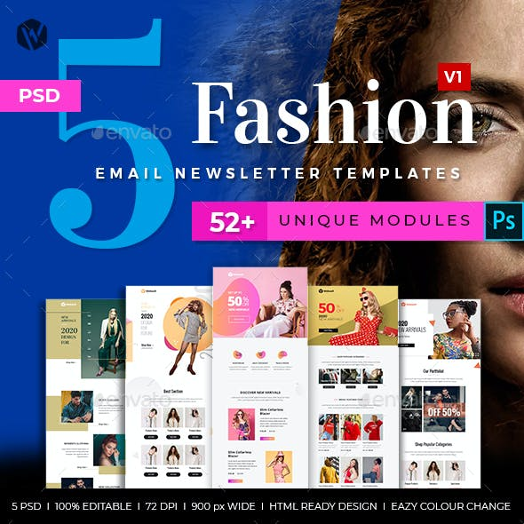 5 Fashion Email Newsletter PSD Templates v1