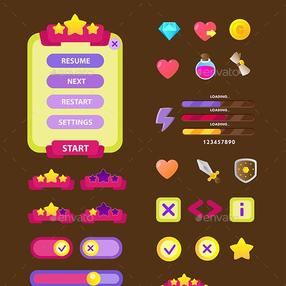 Game Icons Asset Flat Style Design Vector UI